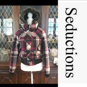 Size XL Wool blend plaid winter jacket EUC